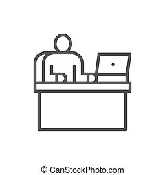 Man at workplace, office working, boss line icon.