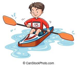 Man athlete canoeing on water illustration