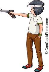 Man athlete shooting shotgun