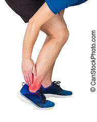 man athletic legs feeling ankle pain, traumas, physical injury and healthcare concept.