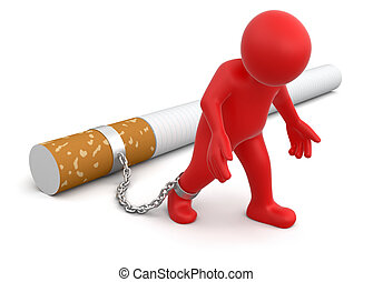 Man attached to cigarette. Image with clipping path