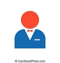 man avatar Flat icon and Logo  blue, orange