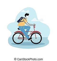 man avatar on bicycle, riding bike