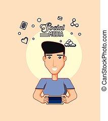 man avatar using smartphone digital social media
