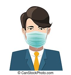 Man avatar with green medical face mask on white