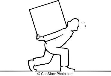man, bärande, a, tung, boxas, på, hans, baksida