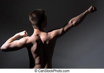 man, back, gespierd, optredens