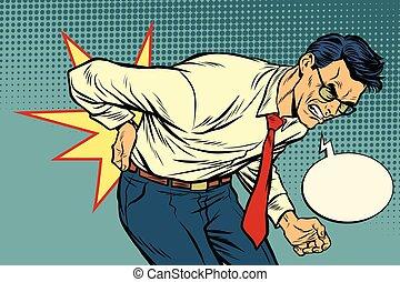 man back pain. Pop art retro vector illustration vintage kitsch drawing