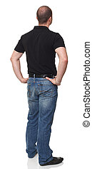 man back view isolated on white portrait