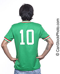 Young man of backs with mexico jersey of the world brasil 2014 on white background.