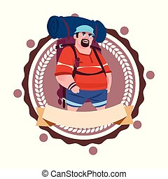 Man Backpacker Travel With Rucksack Hiking Icon Template Isolated