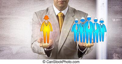Man Balancing Female Manager Versus Worker Group