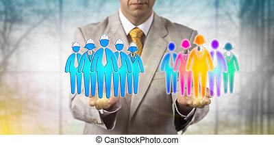 Man Balancing Multicultural Team And Workers -...