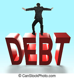 Man balancing on 3D red DEBT word falling.