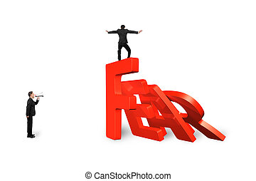 Man balancing on fear word domino falling with another shouting