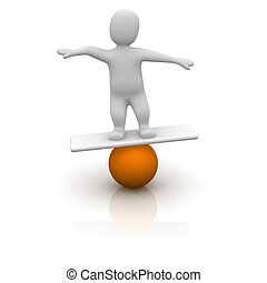 Man balancing on orange ball. 3d rendered illustration.