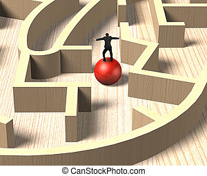 Man balancing on red ball in wooden maze game.