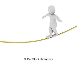Man balancing on the rope. 3d rendered illustration.