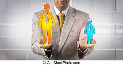 Man Balancing Small Blue And Huge White Collar