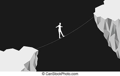 Man balancing walking on rope over cliff