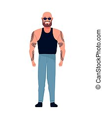 man bald with beard and tattoos perfectly imperfect character vector illustration design