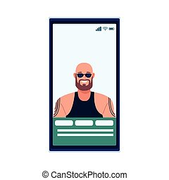 man bald with beard and tattoos perfectly imperfect in smartphone vector illustration design