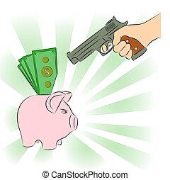 man, bank, geweer, wijzende, piggy