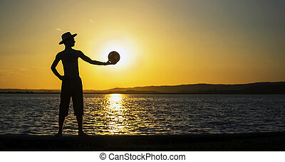 Man banner silhouette at sunset