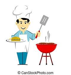 Man Barbecuing Burgers