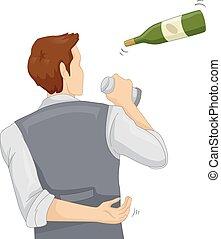 Man Bartender Flaring Illustration - Illustration of a...