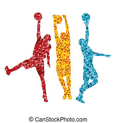 Man basketball vector background silhouette vector abstract...