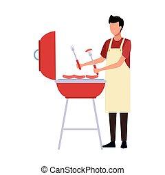 man bbq grill icon, flat design