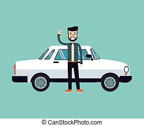 man beard hairstyle standing white car vector illustration eps 10