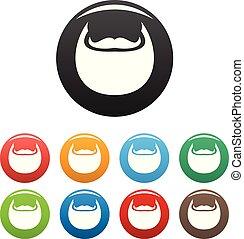 Man beard icons set color vector