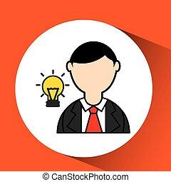 man bearded and bulb creativity icon