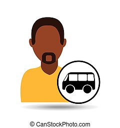 man bearded character bus vehicle transport vector...