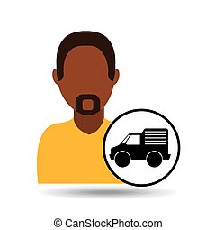 man bearded character delivery vehicle transport vector...