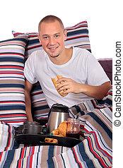Man bedroom breakfast