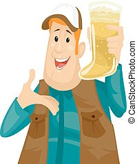 Illustration of a Man Holding a Beer Mug Shaped Like a Boot
