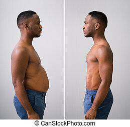 Man Before And After From Fat To Slim Concept