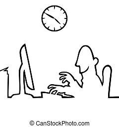 Man behind a computer working 9 to 5 - Black line art...