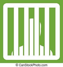 Man behind jail bars icon green