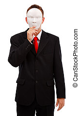 Man behind mask - Business man covering his face with blank ...