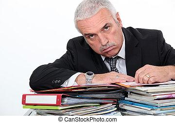 man, benägenhet på, skrivbordsarbete