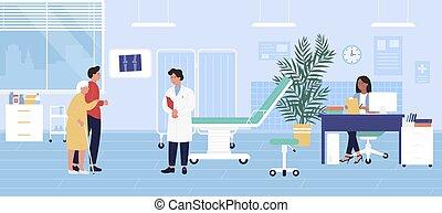 man, besöka, kvinna, bakgrund, vektor, checkup, tecknad film, tecken, illustration, traumatology, läkare, sjukhus, tålmodig, gammal, traumatologist
