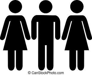 Man between two women pictogram