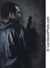 man, beväpnat, med, gevär, på, svart, strukturerad, bakgrund