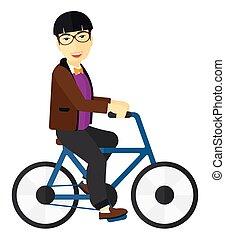 man, bicycle., paardrijden