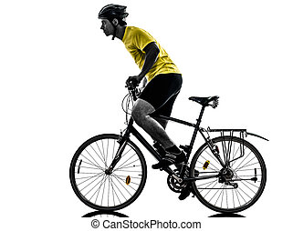 man bicycling  mountain bike silhouette