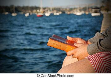 man, bijbel, holdingshanden